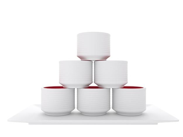 Японское традиционное с чашкой ради на белой предпосылке.