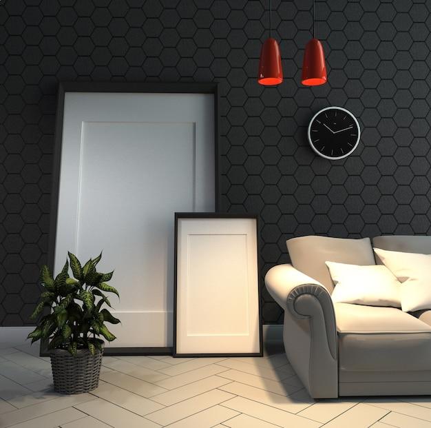 六角形の壁を備えた室内インテリア