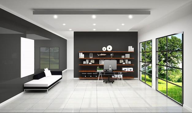 Рабочий зал с отделкой рабочей комнаты, дизайн белой плитки и черный фон стены.