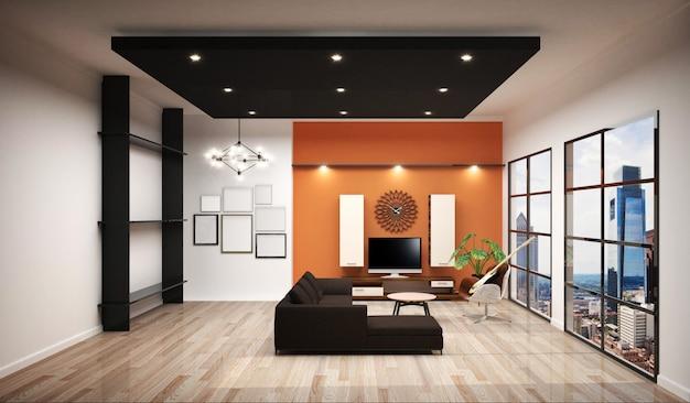 Рабочий зал с отделочной рабочей комнатой, белой плиткой и оранжевым фоном.