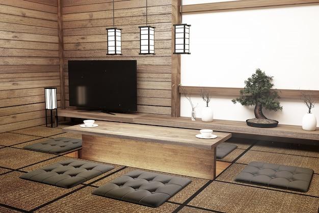 近代的な白い空の部屋のインテリアのテレビ、日本のスタイルの愛好家のために設計されています。