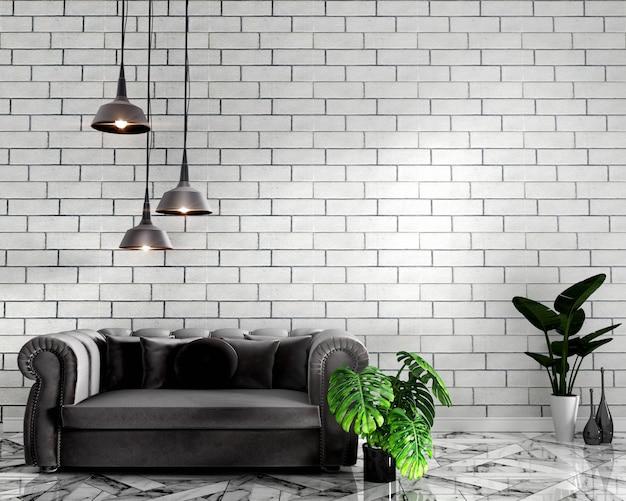 花崗岩の床にソファの装飾と白いレンガの壁でトロピカルなインテリアをモックアップ