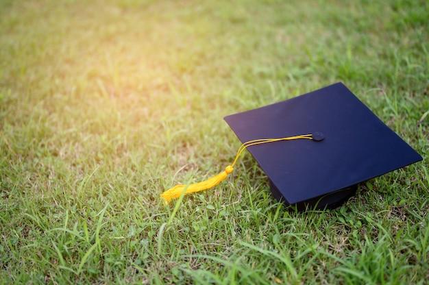 大学卒業生の黒い帽子は緑の葉の上に置かれています。