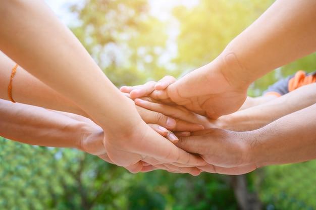友だちのグループが腕を伸ばして団結のために手を触れました。