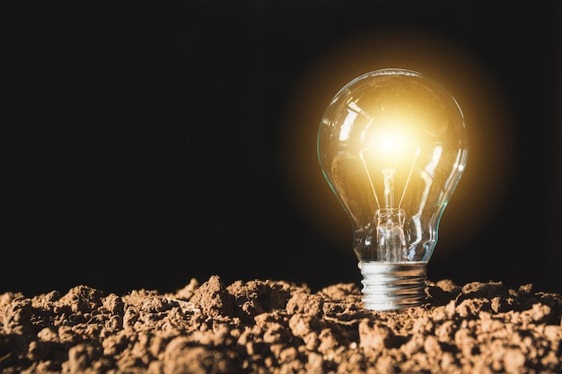 輝くものを持つ電球。アイデアと電球を使った創造性のコンセプト。