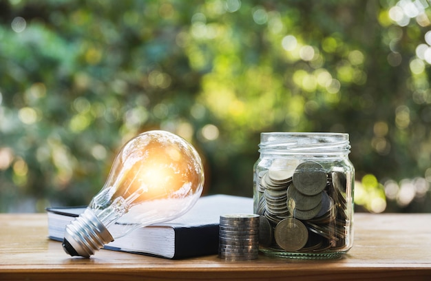 省エネ、金融、会計の概念のためのガラスの瓶にコインで省エネ電球