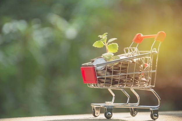 ショッピングカートのコイン。コンセプトファイナンスビジネスとショッピング投資。