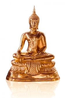 白で隔離されるタイの黄金の仏像