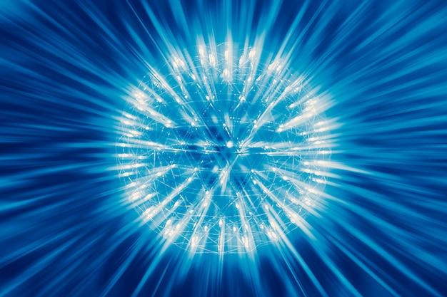 Ядро атома ядерный взрыв взорвать атомную бомбу красный горячий луч излучения света науки иллюстрации концепции.