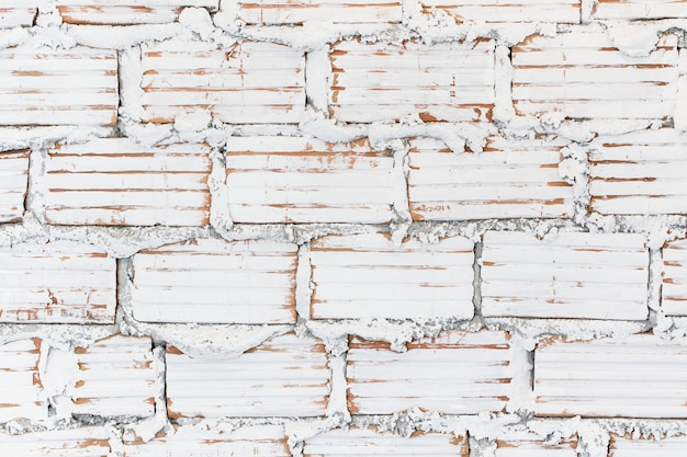 白いペンキレンガ壁ロフトスタイルテクスチャパターン