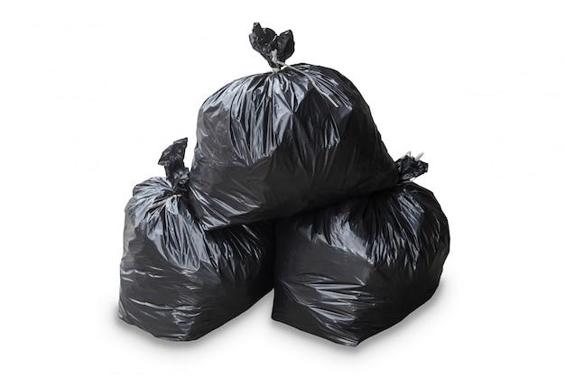 白い背景の上にカット分離されたゴミ袋のグループ