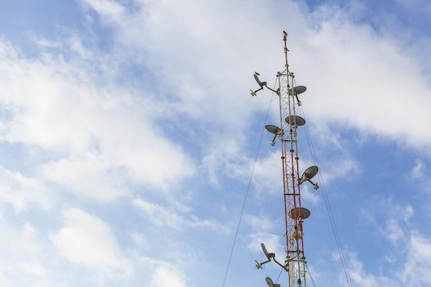 青い空と無線アンテナ通信長距離ディッシュタワー