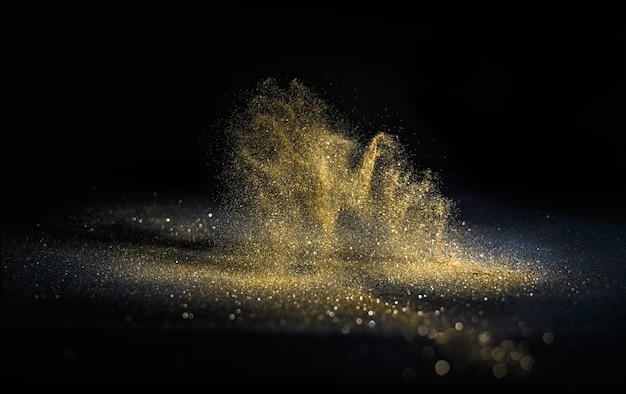 キラキラライトグランジ背景、ゴールドラメは抽象的なきらめきゴールドライト背景をデフォーカスしました。