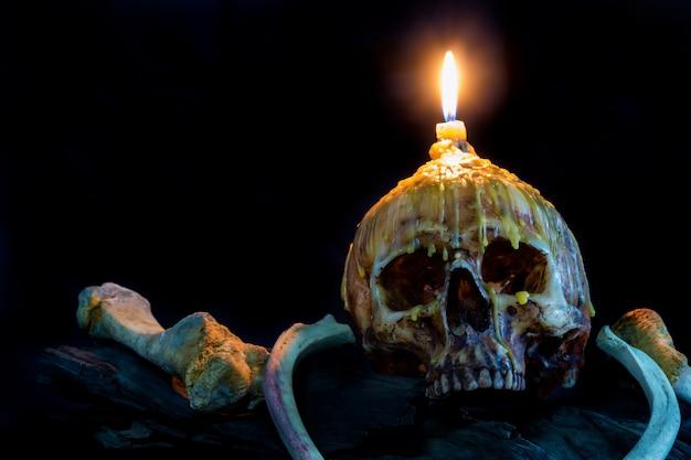 Череп со свечой света сверху и кости на фоне дерева гранж