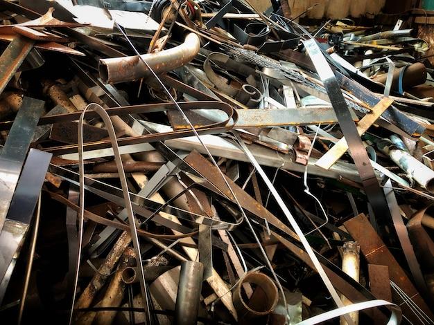 鋼鉄屑、金属、山、鋼鉄屑、リサイクルのための準備、