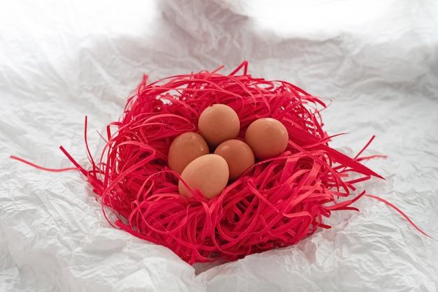 Гнездо яиц мокрое по всей скорлупе, надетое гнездо, из красной бумаги, поверхность гранж