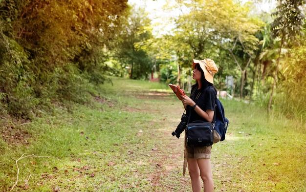 Молодая леди, прогулки в лесу