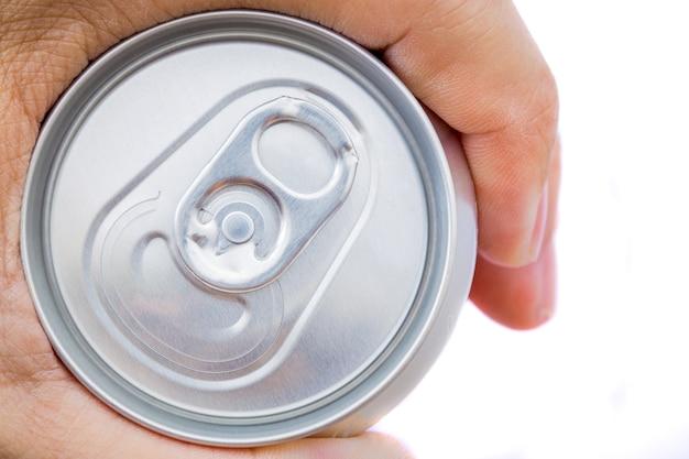 抽象的な手の男のオープン缶