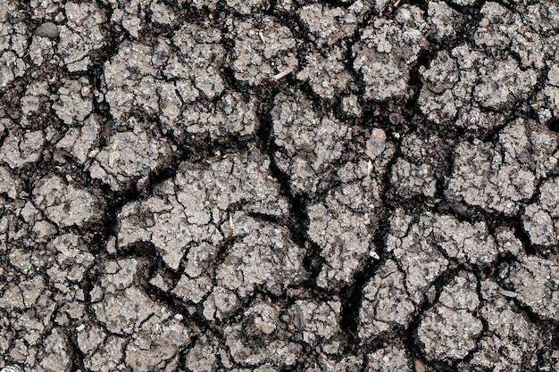不毛の地面。乾燥した、ひびの入った地球の背景。