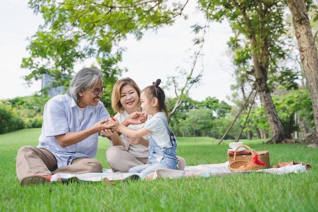アジアの祖父母と幸せな時間を過ごしている孫は、夏に屋外の公園の緑の芝生フィールドで一緒にピクニックを楽しみます
