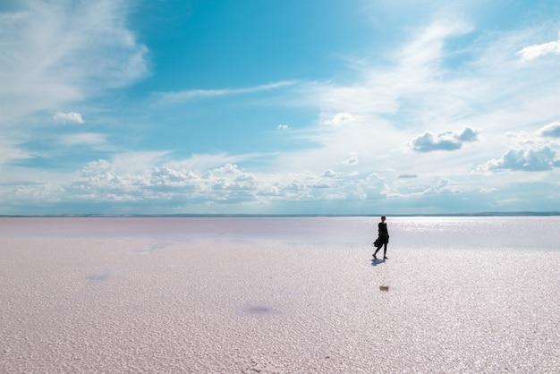 Силуэт женщины, идущей по известному туристическому месту солт лэйк