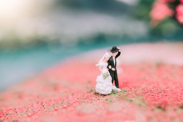 ミニチュア結婚式新郎新婦カップル、自然の背景