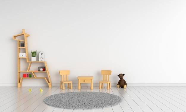 モックアップのための白い子供の部屋の木製のテーブルと椅子
