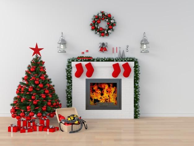 モックアップのための白い部屋のクリスマスツリー