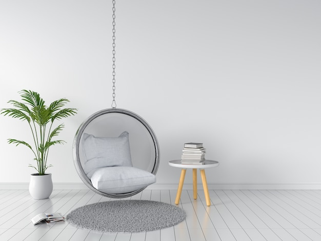 Качели и подушка в белой комнате