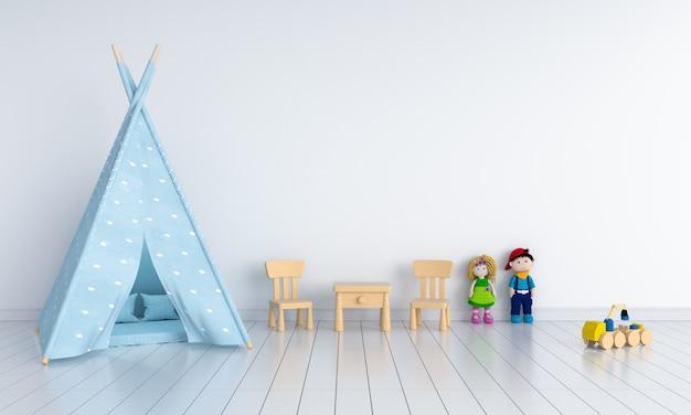 モックアップのための子供部屋のインテリアのティーピー