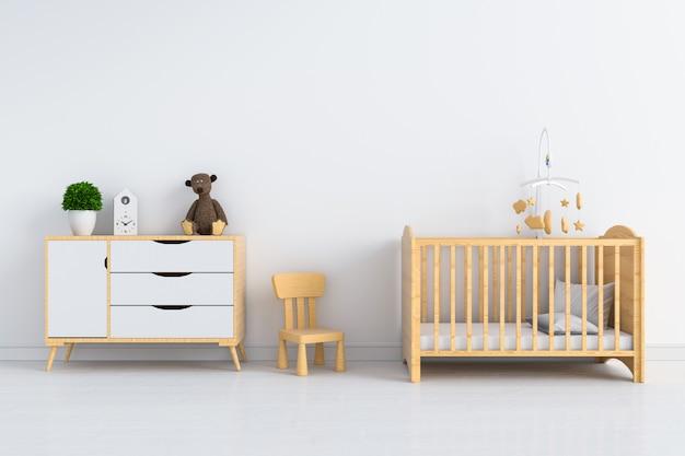 モックアップのための白い子供室のインテリア