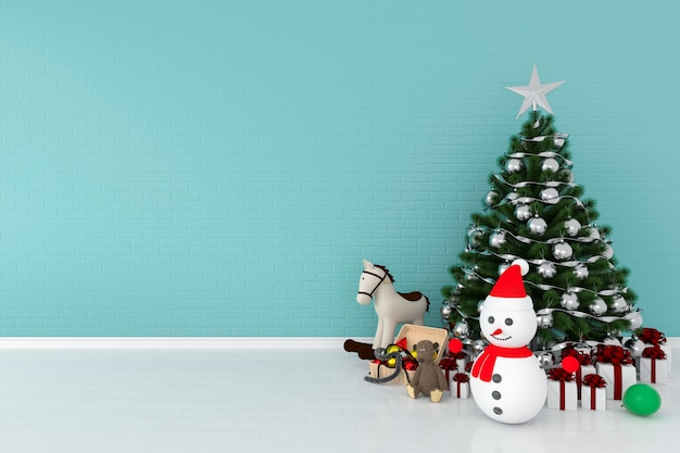 モックアップのためのクリスマスツリーと雪だるま