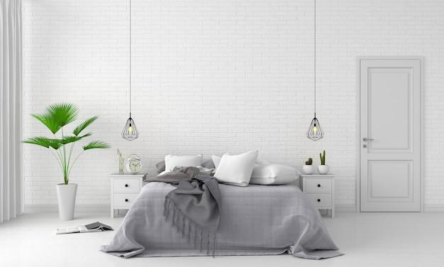 モックアップのための白い寝室のインテリア