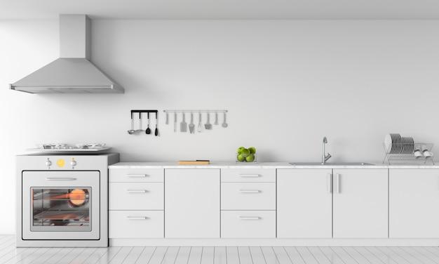 モックアップのためのモダンな白いキッチンカウンター