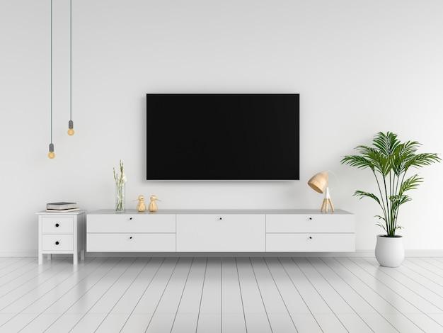 ワイドスクリーンテレビとリビングルームのサイドボード