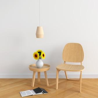 白い部屋の木の椅子