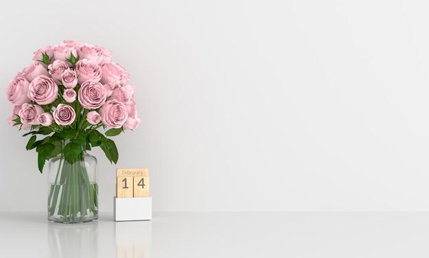 モックアップのための白い部屋でピンクのバラ