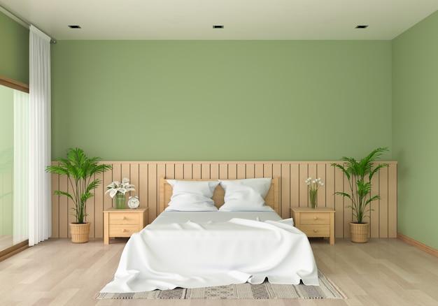 モックアップのための緑の寝室のインテリア