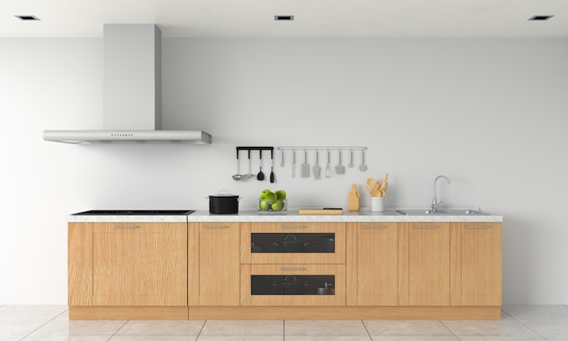 モックアップ用のモダンなキッチンカウンターと電気誘導ストーブ