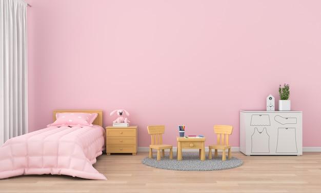 モックアップのためのピンクの子供部屋のインテリア