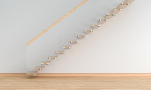 Белая пустая комната с лестницей
