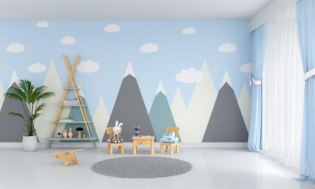 テーブルと椅子、青い子供部屋