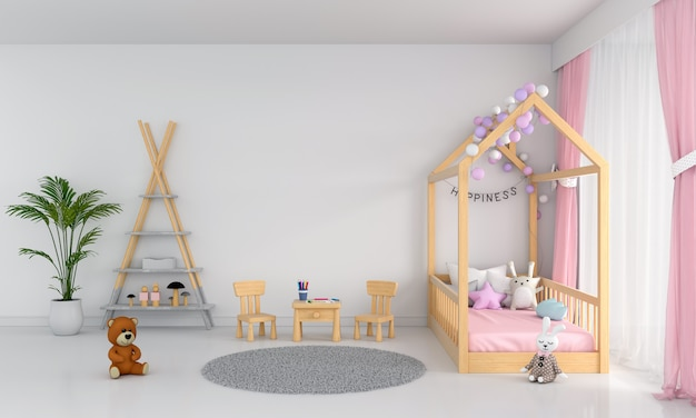 白い子供の寝室のインテリア