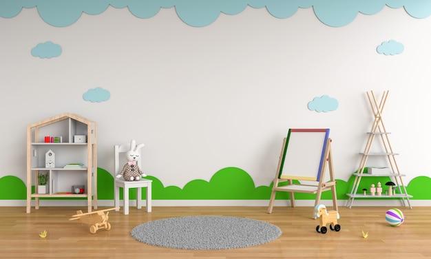 モックアップのための子供部屋のインテリアの描画ボードと椅子