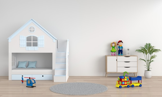 モックアップのための白い子供の寝室のインテリア