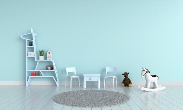 青いテーブルとモックアップのための子供部屋の椅子
