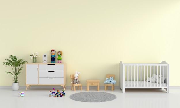 Желтый интерьер детской спальни для макета
