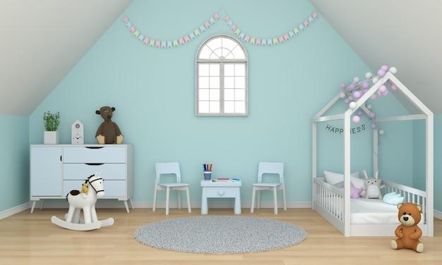 Светло-зеленый интерьер детской комнаты под крышей для макета