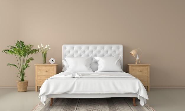 モックアップのための茶色の寝室のインテリア