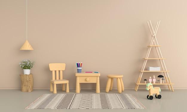 モックアップのための茶色の子供部屋のテーブルと椅子